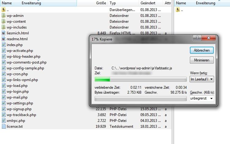 Wordpress Installation - Verzeichnis hochladen