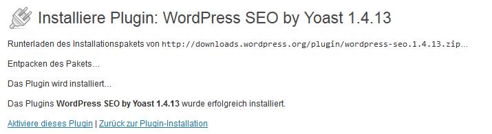 Wordpress Plugin - Installation abgeschlossen