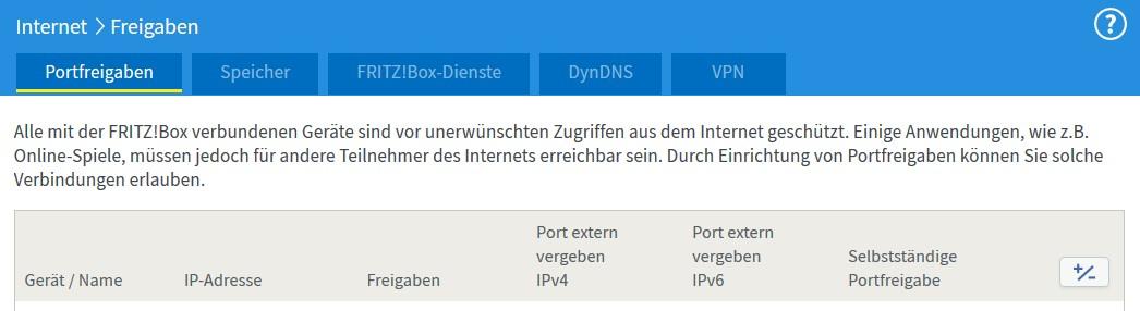 FritzBox - Internet - Freigaben - Portfreigaben