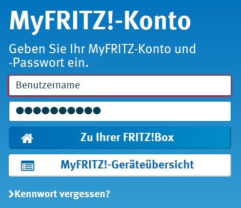 MyFritz - Konto - Anmeldung