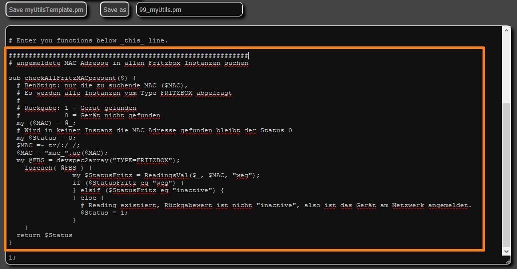 FHEM - 99_myUtils.pm - Perl Code einfügen