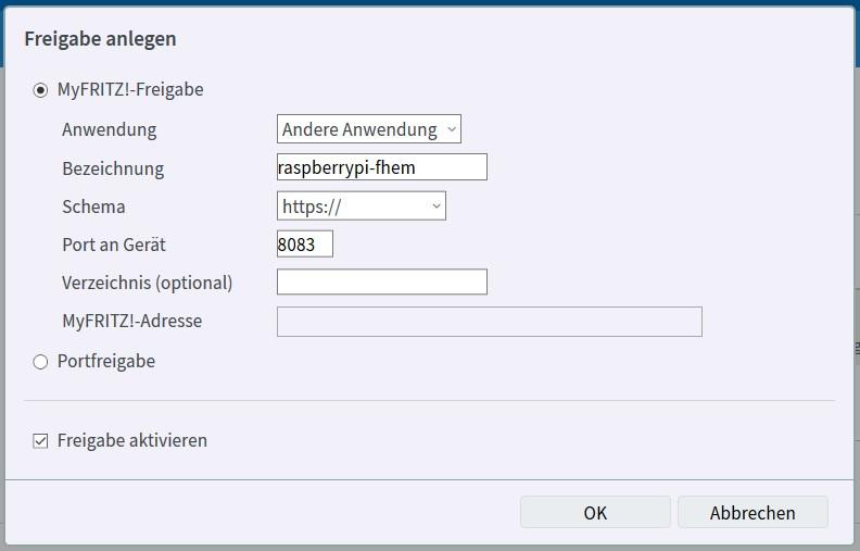 FritzBox - Freigabe anlegen