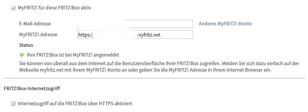 FritzBox - MyFritz - Konto - angemeldet