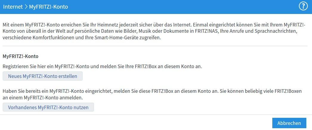 FritzBox - MyFritz Konto einrichten