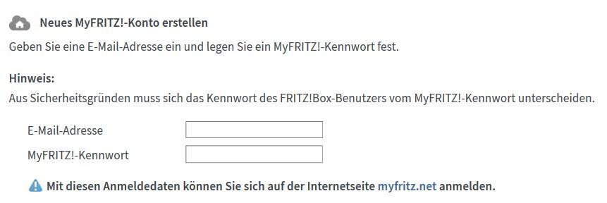 FritzBox - neues MyFritz Konto erstellen
