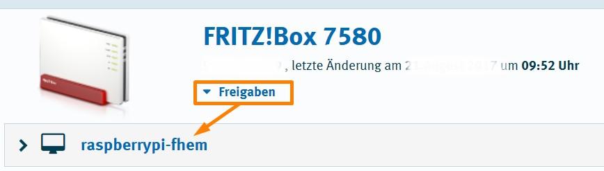 MyFritz - Geräte - Freigaben