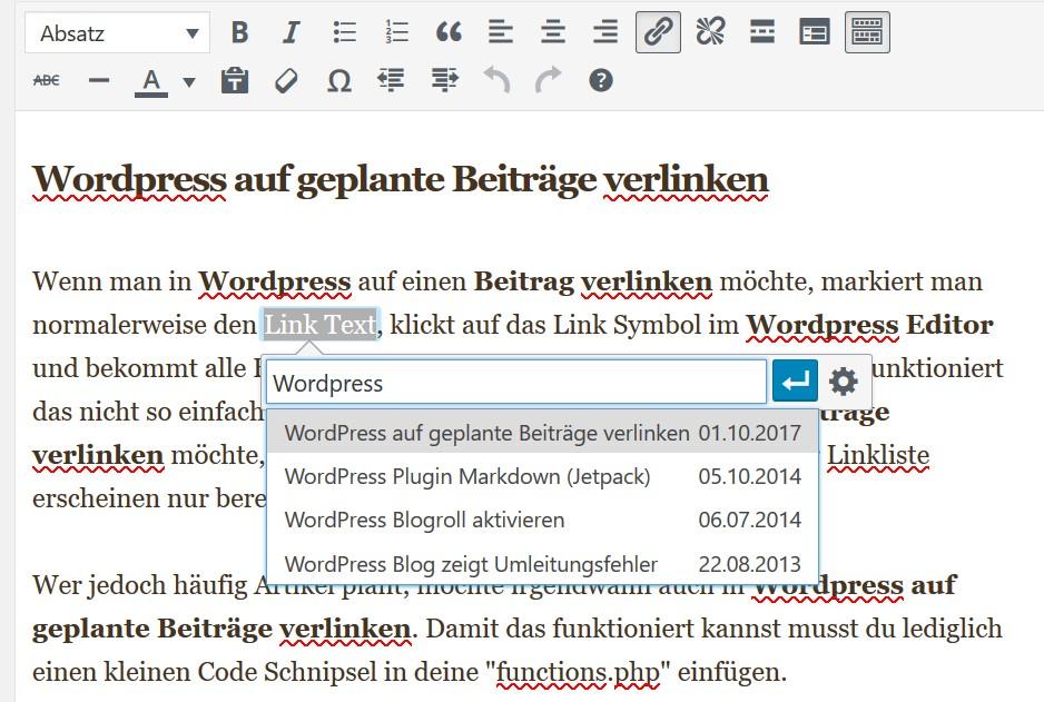 Wordpress auf geplante Beiträge verlinken