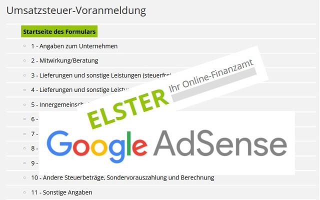 Umsatzsteuer Voranmeldung mit Google Adsense Einnahmen